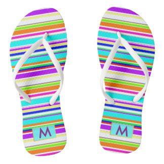 Modern Rainbow stripes monogram Flip Flops
