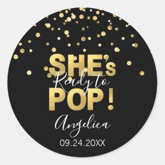 Modern Ready to Pop Baby Shower Gold Black Classic Round Sticker