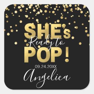 Modern Ready to Pop Baby Shower Gold Black Square Sticker