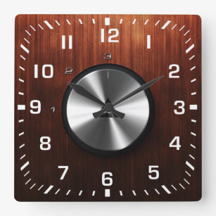 Modern Realistic Shiny Steel and Wood Texture Square Wall Clock
