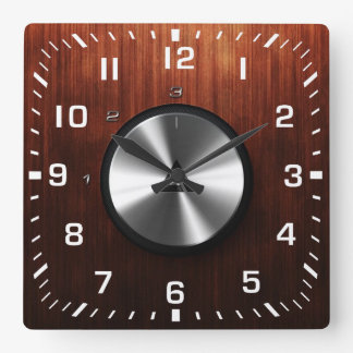 Modern Realistic Shiny Steel and Wood Texture Wallclocks