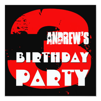 """Modern RED 3rd Birthday Party 3 Year Old V06 5.25"""" Square Invitation Card"""