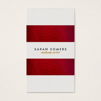 Modern Red Alligator Skin Makeup Artist Striped Business Card