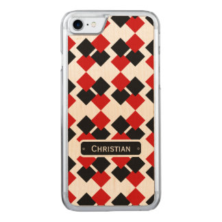 Modern Red and Black Diamond Pattern Carved iPhone 8/7 Case