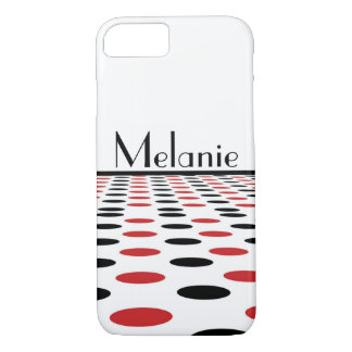 Modern Red and Black Dots on White iPhone 7 Case
