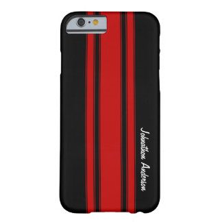Modern Red And Black Racing Stripes With Name Barely There iPhone 6 Case