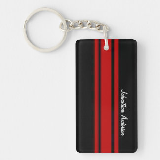 Modern Red And Black Racing Stripes With Name Double-Sided Rectangular Acrylic Keychain