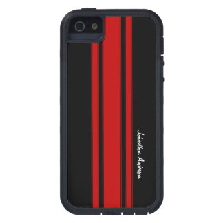 Modern Red And Black Racing Stripes With Name iPhone 5 Cover