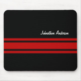Modern Red And Black Racing Stripes With Name Mousepads