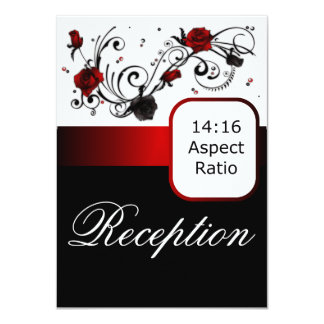 Modern Red and Black Rose Wedding Reception Insert Card