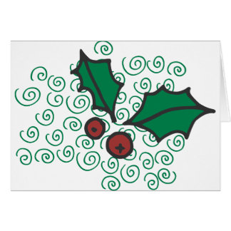 Modern Red and Green Christmas Holly Design Card