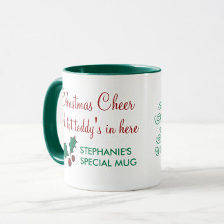 Modern Red and Green Christmas Holly Design Mug