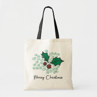 Modern Red and Green Christmas Holly Design Tote Bag
