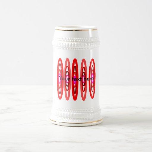 Modern red and pink circles coffee mugs