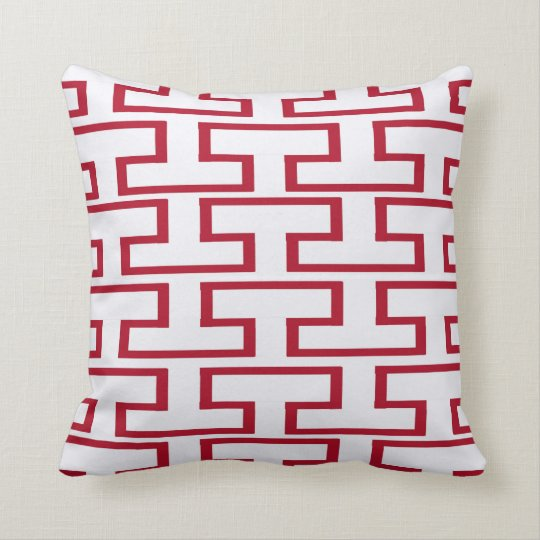 Modern Red and White Bricks Throw Pillow