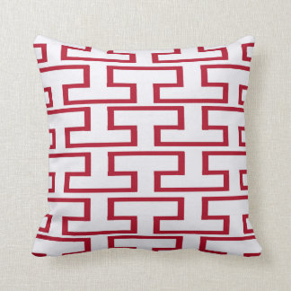 Modern Red and White Bricks Throw Pillow