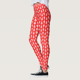 Modern Red And White Christmas Tree Leggings