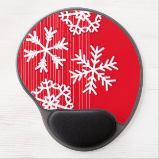 Modern red and white Christmas white snowflakes Gel Mouse Pad