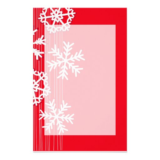 Modern red and white Christmas white snowflakes Stationery