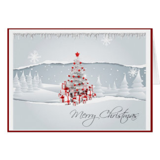 Modern Red and White Holiday Christmas Card
