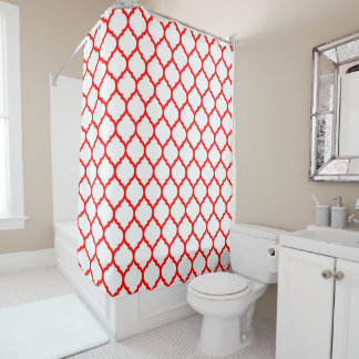Modern Red and White Moroccan Qutrefoil Pattern