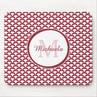 Modern Red and White Scallops Monogram and Name Mouse Pad