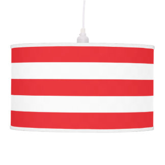 Modern Red and White Striped Hanging Lamps