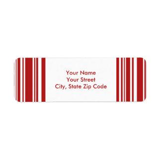 Modern Red and White Stripes return address labels