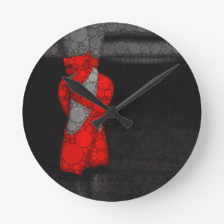 Modern Red Ballet Shoes Round Clock