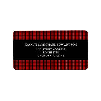 Modern red black Scottish tartan return address Label