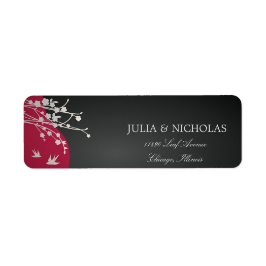Modern Red Black Wedding Return Address