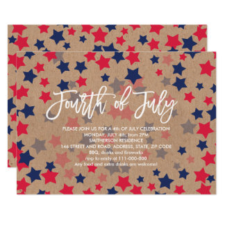 Modern red blue stars confetti kraft 4th of July Card
