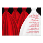 Modern Red Bridesmaids Bride Dress Bridal Shower Personalized Invitations