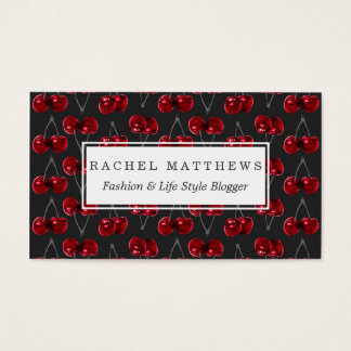 Modern Red Cherries on Charcoal Black Business Card