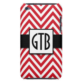 MODERN RED CHEVRON THREE INITIALS MONOGRAM iPod TOUCH COVERS