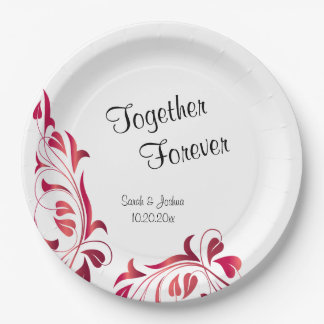 Modern Red Floral 9 Inch Paper Plate