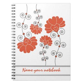 Modern Red Floral Designer Notebooks