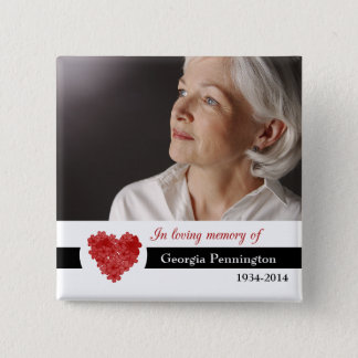 Modern red floral heart in memory of photo button