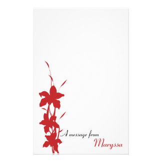 Modern Red Floral Note Pad Personalized Stationery
