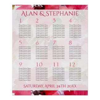 Modern Red Floral Watercolor Seating Chart Poster