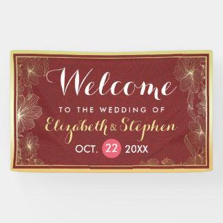 Modern Red Gold Floral Frame Wedding Welcome Sign