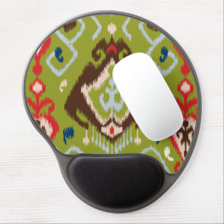 Modern red green brown ikat tribal pattern gel mouse pad