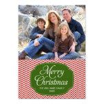 "Modern Red Green Chevron Christmas Photo Card 5"" X 7"" Invitation Card"