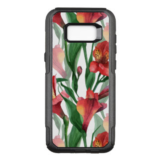 Modern Red & Green Lily Illustration Pattern OtterBox Commuter Samsung Galaxy S8+ Case