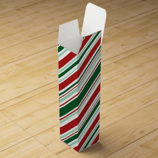 Modern Red, Green, White Christmas Candy Stripes Wine Bottle Boxes