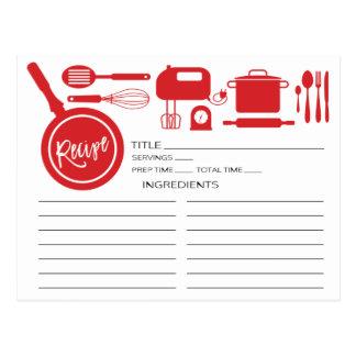 Modern Red Kitchen Utensils Recipe Card Postcard