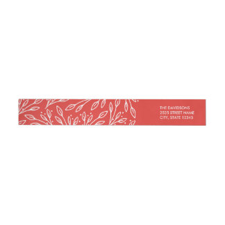 Modern Red Leaves Berries Wraparound Labels Wraparound Return Address Label