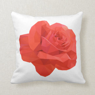 Modern Red Low Polygon Rose Pillow