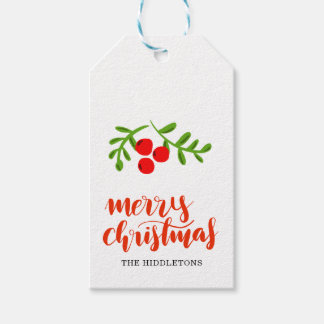 Modern Red Merry Christmas Handwritten Typography Gift Tags