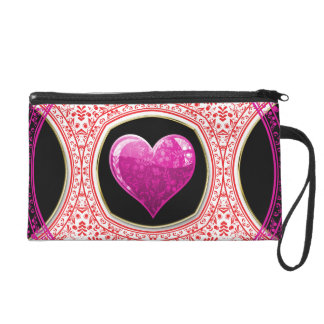 Modern Red Pink & Black Floral Heart Mosaic Wristlet Clutch
